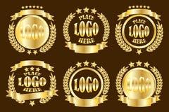 Gold_round_badge_set 向量例证