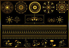 Gold round calligraphy ornaments and border on black background Stock Image