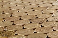 Gold Round Coins Stock Photo