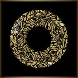 Gold round frame on black background. Vector floral decoration made from swirl shapes. Greeting, invitation card. Royalty Free Stock Photography