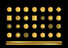 Gold  round ornaments on black background Royalty Free Stock Photos