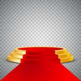 Gold round podium with red carpet, abstract background Royalty Free Stock Image