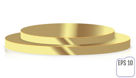 Gold round stage podium, pedestal isolated on white background. Royalty Free Stock Images