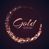 Gold rounded banner with glow effect on dark Stock Photos
