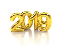 Gold rounded 2019 3d rendering. New year Royalty Free Stock Images