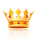 Gold royal crown. Vector illustration isolated on white background Stock Images