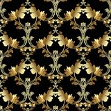Gold royal 3d Baroque flowers and leaves. Gold royal 3d Baroque vector seamless pattern. Floral vintage damask background. Golden flowers, scrolls, leaves Stock Photography
