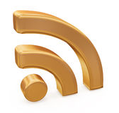 Gold rss symbol Royalty Free Stock Images
