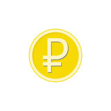 Gold ruble coin flat icon, finance and business. Ruble sign vector graphics, a colorful solid pattern on a white background, eps 10 Stock Image