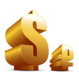 Gold ruble and dollar icons Royalty Free Stock Photography