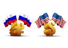 Gold ruble and dollar icons Stock Photography
