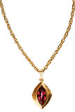 Gold and ruby pendant on chain Royalty Free Stock Photography
