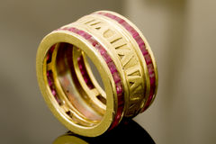 Gold and ruby ring Stock Images