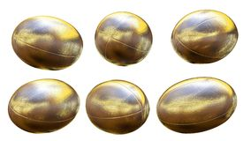 Gold rugby ball X6. Gold rugby ball 3D render for world cup Stock Photography