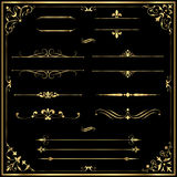 Gold Rule Lines and Ornaments Stock Image
