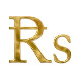 Gold Rupee Sign. Gold or golden rupee sign, the currency of India. Isolated on white. Clipping path included Stock Photo