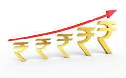 Gold rupee signs arrow up graphic. 3d render Gold rupee signs arrow up graphic  ( on white and clipping path Royalty Free Stock Photography