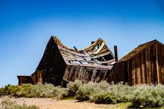 The Gold Rush ghost town of Bodie, California in late spring royalty free stock photography