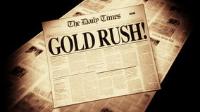 Gold Rush! - Newspaper Headline (Intro + Loops) stock video