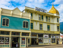 Gold rush town Skagway. The Klondike Gold Rush National Historic Park is located within the town of Skagway, Alaska, United States, USA. The historic buildings Stock Photo