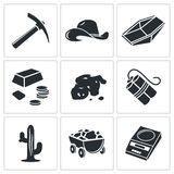 Gold rush Vector Icons Set Stock Image