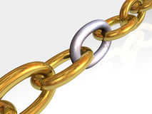 Gold and rusty chain Royalty Free Stock Image