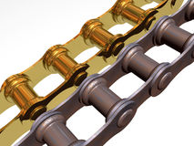 Gold and rusty chains Royalty Free Stock Images