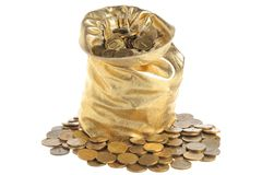 Gold sack full of coins isolated on white Stock Images