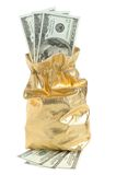 Gold sack full of dollars isolated on white Stock Photo