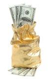 Gold sack full of dollars isolated on white Stock Photo