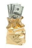 Gold sack full of dollars isolated on white Royalty Free Stock Image