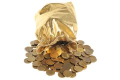 Gold sack with scattered coins isolated on white Royalty Free Stock Photo