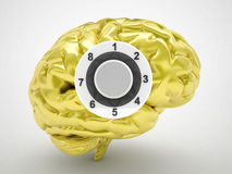 Gold safe brain Royalty Free Stock Image