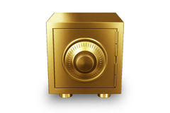 Gold safe icon. On whate background Stock Photos