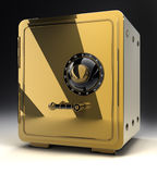 Gold safe isolated on black 3D Stock Photography