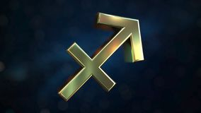 Gold Sagittarius Zodiac sign, 3D rendering. Gold Zodiac sign, part of the set. 3D royalty free illustration