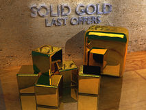 Gold for sale. Last offers for a stack of sparkling gold bullions (3D rendering Royalty Free Stock Images
