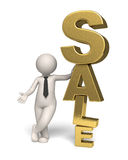 Gold sale icon - 3d business man Royalty Free Stock Images
