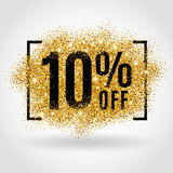 Gold sale 10% percent. On gold background. Gold sale background for flyer, poster shopping for sale sign discount, marketing selling banner web header. Gold Stock Photography