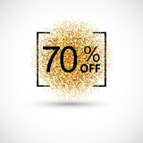 Gold sale 70 percent background. Gold sale 50 percent. Gold sale 50 percent on gold background. Gold sale background for flyer, poster, shopping, discount Stock Photos
