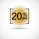 Gold sale 20 percent on gold background. Gold sale background for flyer, poster, shopping, for sale sign, discount, marketing, selling, banner, web, header Stock Image