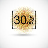 Gold sale 30 percent on gold background. Gold sale background for flyer, poster, shopping, for sale sign, discount, marketing, selling, banner, web, header Royalty Free Stock Photo