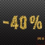 Gold sale 40 percent. Golden sale 40% percent on transparent bac Royalty Free Stock Photography