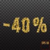 Gold sale 40 percent. Golden sale 40% percent on transparent bac. Kground. Shine salling background for flyer, poster, shopping, for symbol sign, discount vector illustration