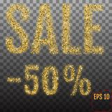Gold sale 50 percent. Golden sale 50% percent on transparent bac. Kground. Shine salling background for flyer, poster, shopping, for symbol sign, discount Royalty Free Stock Images
