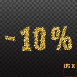 Gold sale 10 percent. Golden sale 10% percent on transparent bac. Kground. Shine salling background for flyer, poster, shopping, for symbol sign, discount Royalty Free Stock Photography