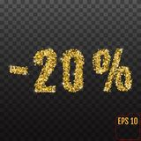 Gold sale 20 percent. Golden sale 20% percent on transparent bac. Kground. Shine salling background for flyer, poster, shopping, for symbol sign, discount Stock Photography