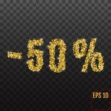 Gold sale 50 percent. Golden sale 50% percent on transparent bac. Kground. Shine salling background for flyer, poster, shopping, for symbol sign, discount Vector Illustration