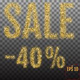 Gold sale 40 percent. Shine salling background for flyer, poster. Shopping, for symbol sign, discount, selling, banner, web, header. Light blur backdrop Royalty Free Stock Photography