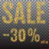 Gold sale 30 percent. Shine salling background for flyer, poster. Shopping, for symbol sign, discount, selling, banner, web, header. Light blur backdrop Royalty Free Stock Image